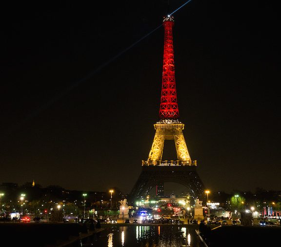The Eiffel Tower, the evening of March 22, following 2016 Brussels bombings, Belgium.