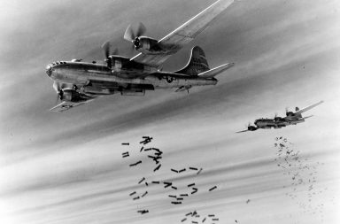 Boeing B-29s drop bombs over Rangoon, Burma. Nearest aircraft is B-29-25-BA (S/N 42-63529) of the 468th Bomb Group. (U.S. Air Force photo)