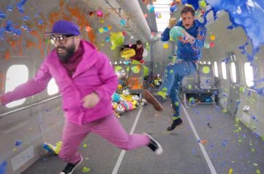 "The members of OK Go float in zero gravity in a scene from their latest video, for the song ""Upside Down"